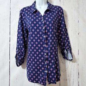 Kim Rogers Pink Blue Button Down Top